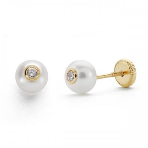 Pendiente oro,perla y circonita.