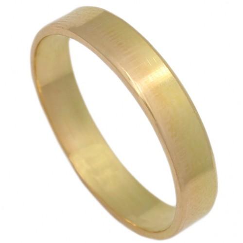 Alianza oro plana canto diamantado.