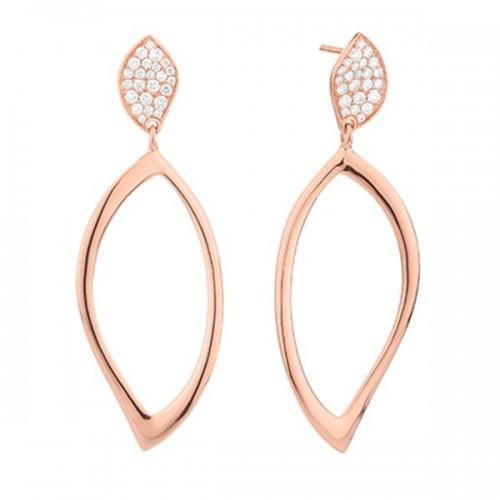 Pendientes largos oro rosa y diamantes.