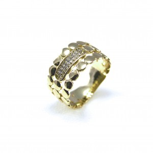 Sortija oro amarillo y diamantes.
