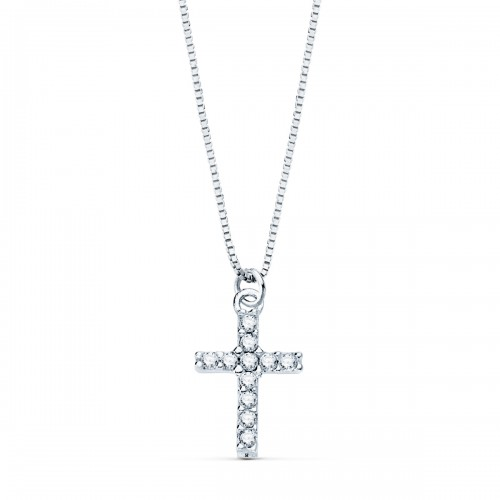 Cruz con cadena oro blanco y diamantes.